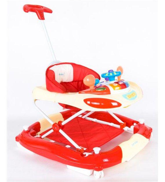 Dětské chodítko a houpačka s vodicí tyčí 213PRN/1 krémová + červená