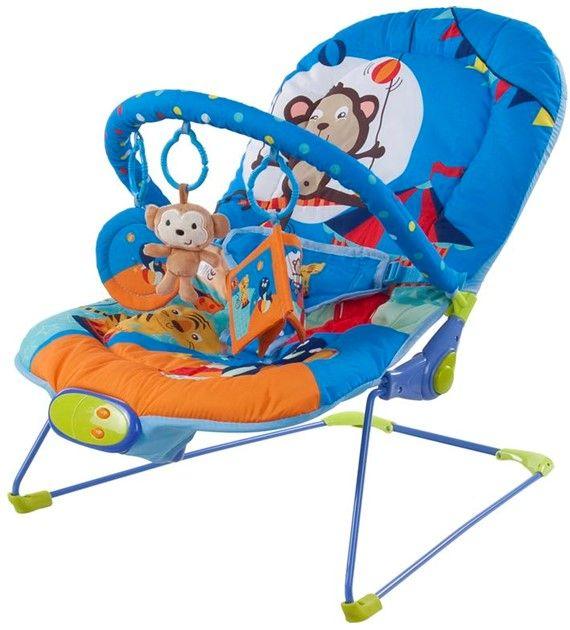Dětské lehátko Sunbaby s vibracemi modrá opička