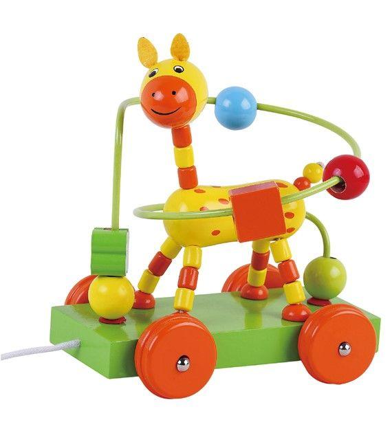 Dřevěná jezdící interaktivní hračka - labyrint žirafa AB3352