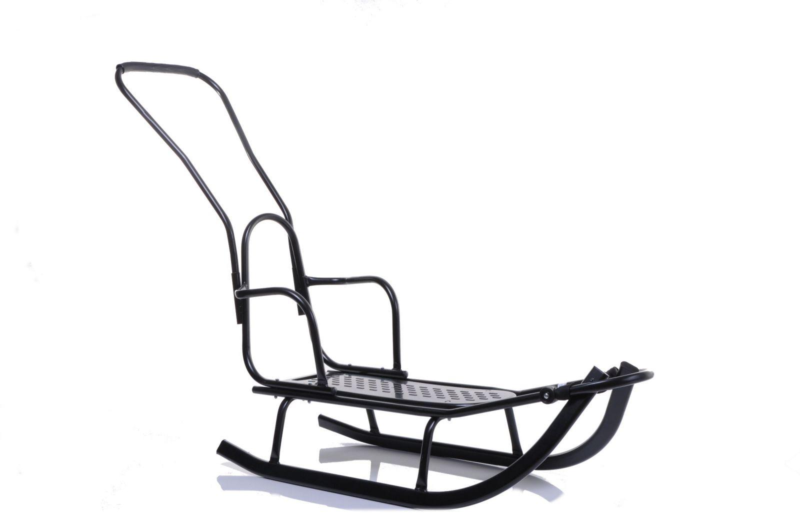 Kovové sáně s opěradlem a vodicí tyčí Luxus černá