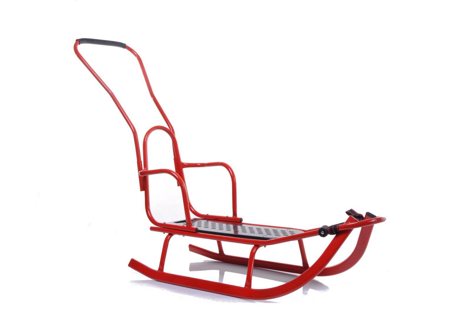 Kovové sáně s opěradlem a vodicí tyčí Luxus červená