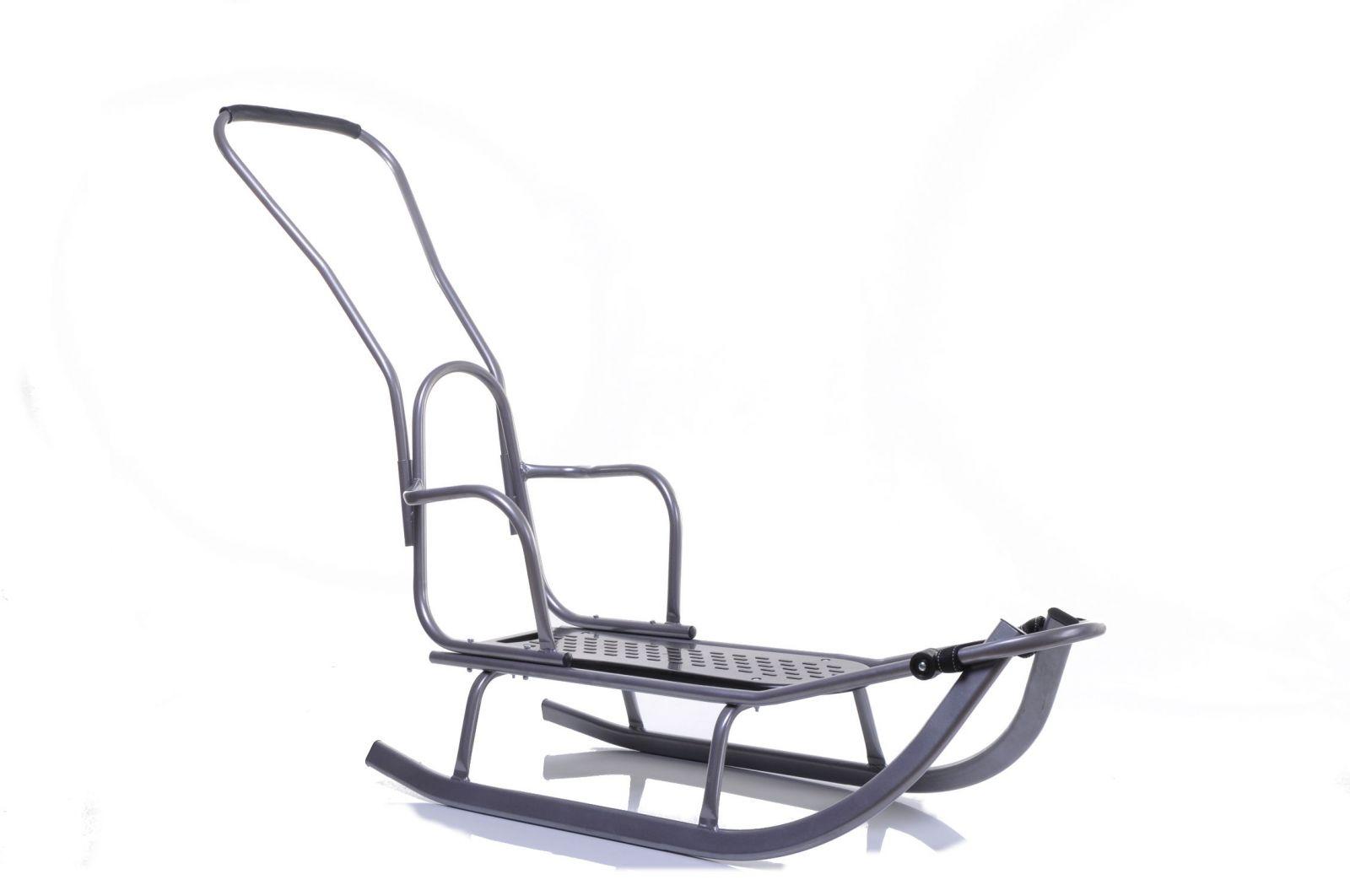 Kovové sáně s opěradlem a vodicí tyčí Luxus šedá