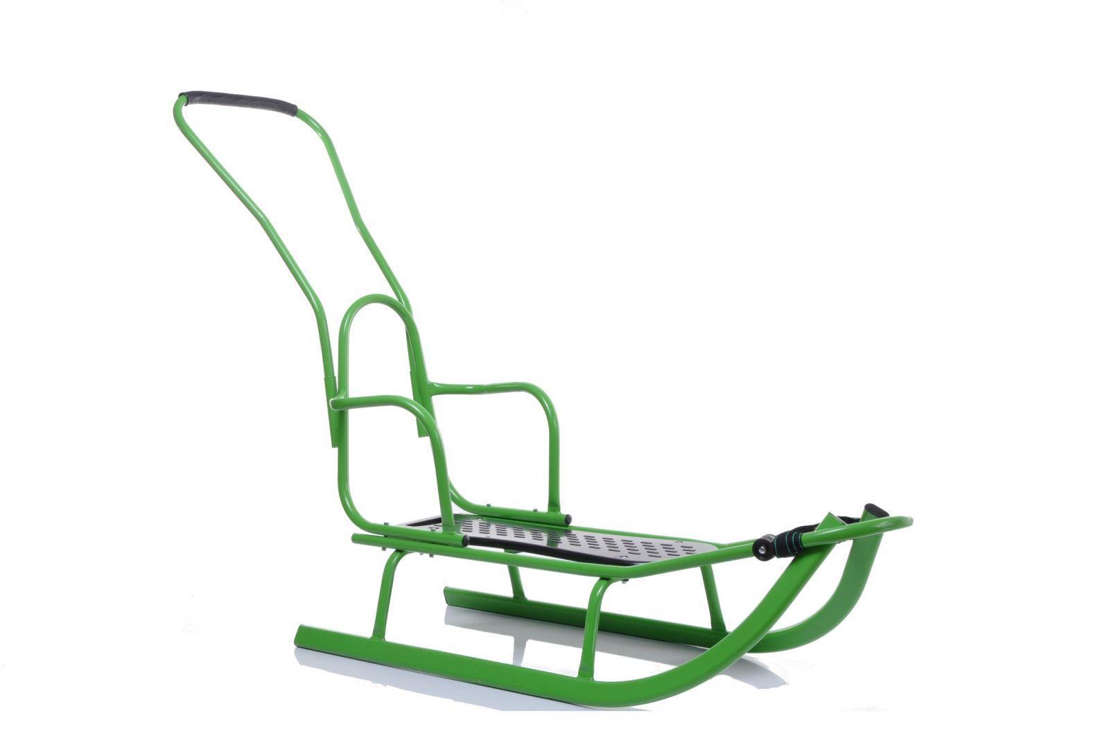 Kovové sáně s opěradlem a vodicí tyčí Luxus zelená
