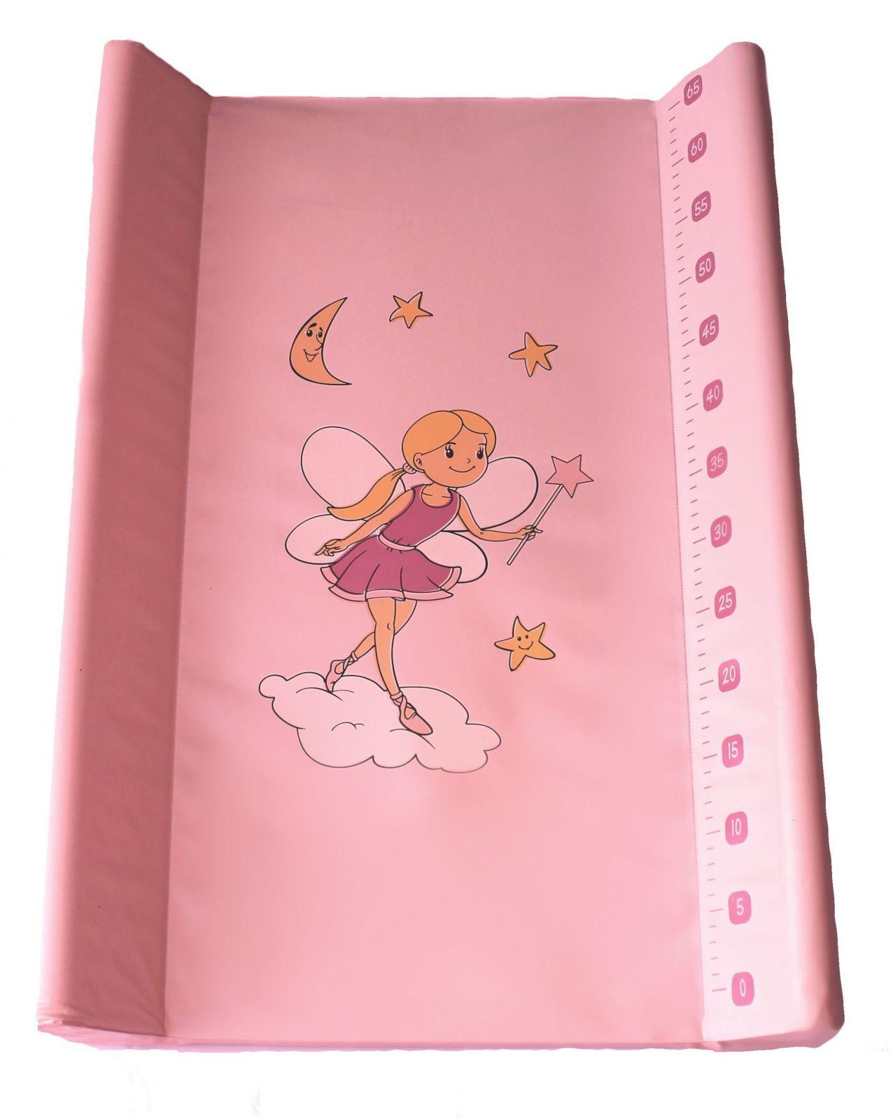 Přebalovací podložka Baby sky tvrdá 50x80 cm růžová víla