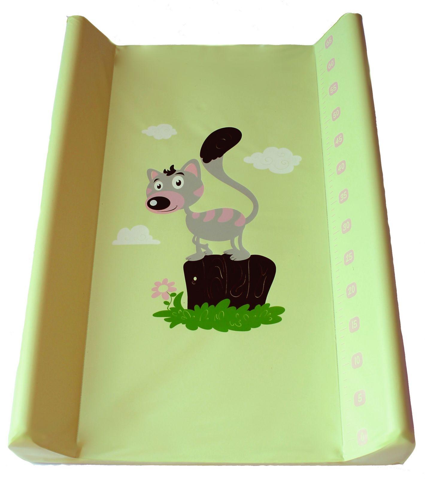 Přebalovací podložka Baby sky tvrdá 50x80 cm zelená kotě
